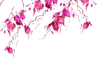 Watercolor drawing, a branch of a aspens, birch, an apple-tree, a cherry, a poplar with leaves. pink leaves in the wind. An abstract pink splash of paint.  Watercolor logo, card, invitation, label.