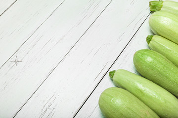 Fresh green zucchini squash. Copy space for text.
