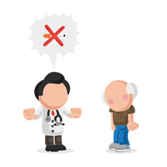 Vector hand-drawn cartoon of doctor telling old patient to quit smoking cigarette