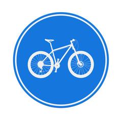 Blue Round Bicycle Lane Sign. 3d Rendering