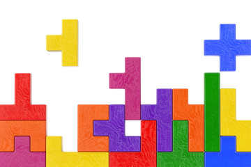 Logical Thinking Concept. Different Colorful Shapes Wooden Blocks. 3d Rendering