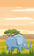 Elephant on the background of the African landscape, savanna, Cartoon style, vector illustration