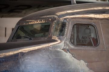 old airplane cockpit detail