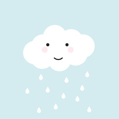 Happy cloud with drops pain
