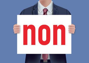 non - pancarte - présentation - refuser - désaccord - concept - homme - voter - choisir - entreprise