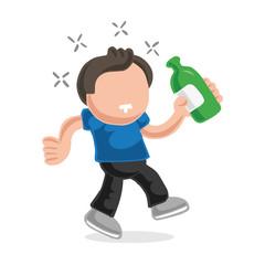 Vector hand-drawn cartoon of drunk man walking holding bottle of beer