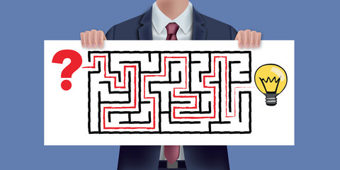 Solution - problème - idée - pancarte - présentation - créatif - réfléchir - créativité - concept - labyrinthe