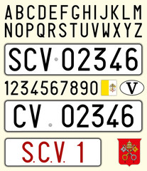 Vatican City, Holy See car license plate, letters, numbers and symbols