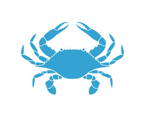 Blue crab. Logo. Isolated crab on white background