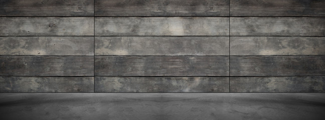 Wide Old Wood Background Concrete Floor