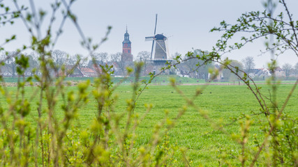 Village view of the picturesque ancient little village Buren in Neder-Betuwe, Gelderland, Netherlands