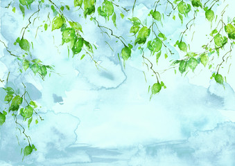 Watercolor blue, green background, blot, blob, splash of blue, green paint on white background. Watercolor blue, green sky, spot, abstraction. Green leaves in the wind. Branch of a tree, a birch.
