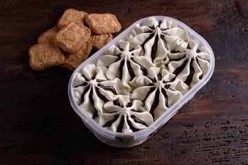 Pistachio ice cream poached gianduia in the pan
