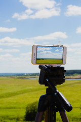 Smartphone on tripod capturing summer landscape