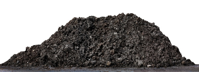 A large pile of thick Dark brown black, Wet brown soil mountain shape, Clay pile soil for Planting isolated on white Background, Soil pile land for construction home, Agricultural land for cultivation Wall mural