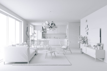 3d home interior, white render