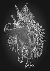 Graphic dinosaur and plants