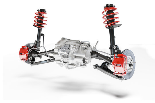 3d car suspension and brake system on white background
