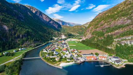 Aerial photo of Modalen village. Hordaland, Norway.