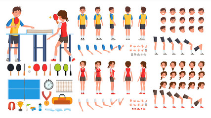 Table Tennis Player Male, Female Vector. Animated Character Creation Set. Ping Pong. Man, Woman Full Length, Front, Side, Back View, Accessories, Poses, Face Emotions, Gestures.  Illustration