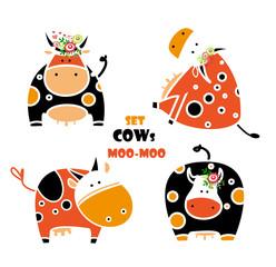 Cute cartoon cow. set