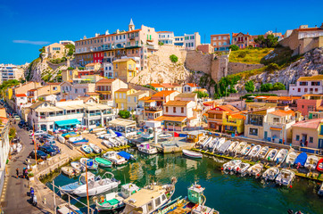The Vallon des Auffes - fishing haven with small old houses, Marseilles, France
