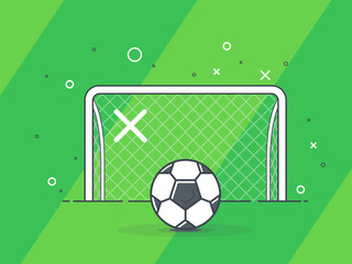 Soccer ball / football gate. Penalty kick on the gate. Trendy flat vector on green background.