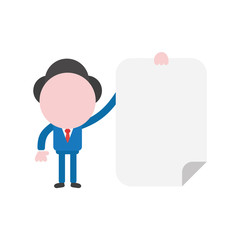 Vector businessman character holding blank paper