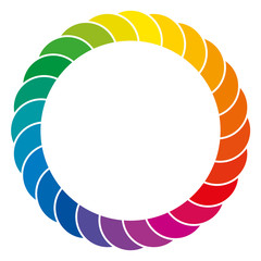 Rainbow colored background. Colorful space and circle made of overlapping segments of the color spectrum, separated through white lines. Isolated. Illustration on white background. Vector.