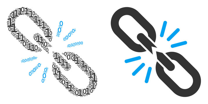 Break chain link collage icon of zero and null digits in various sizes. Vector digit symbols are formed into break chain link mosaic design concept.