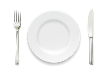 Plate, fork and knife. Set of utensils. Tableware for food.