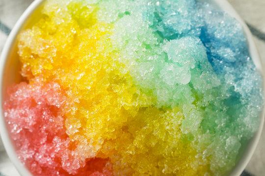 Sweet Homemade Shaved Rainbow Hawaiian Ice