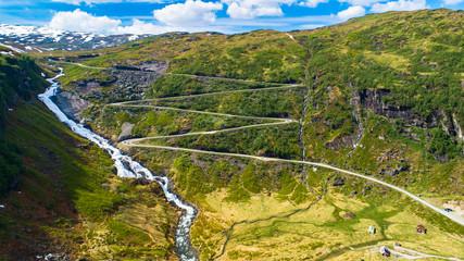 Mountain road. Myrkdalen, Norway.