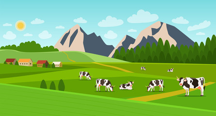 Summer landscape with village and herd of cows on the field. Vector flat style illustration