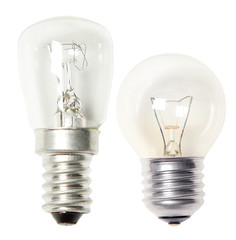 Set of light bulbs isolated on white background
