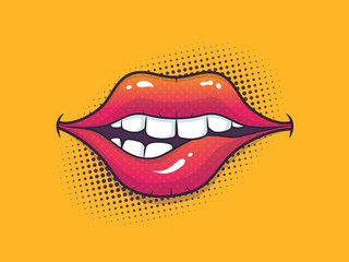Biting female lips in pop art style with halftone in background vector cartoon illustration