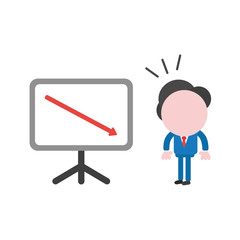Vector businessman character looking sales chart arrow moving down