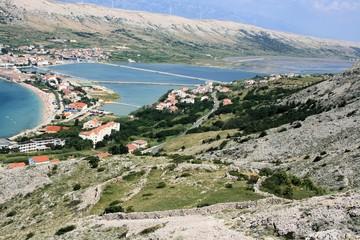 salt lakes on the island Pag, Croatia