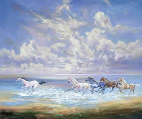 Running horses on the coast. Painting: canvas, oil. Author: Nikolay Sivenkov.