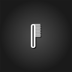 Comb icon flat. Simple White pictogram on black background with shadow. Vector illustration symbol