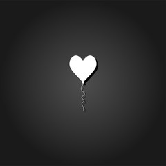 Heart balloon icon flat. Simple White pictogram on black background with shadow. Vector illustration symbol