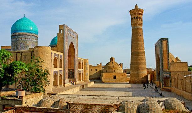 Po-i-Kalyan mosque complex with The Kalyan minaret in Bukhara, Uzbekistan.