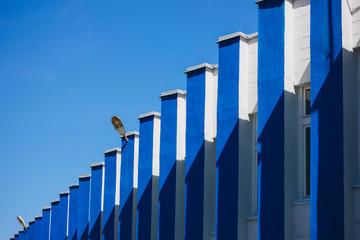 Rhythmic blue columns of the facade of a single-storey building, Samara, Russia