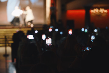 People using their mobile phone during a performance show
