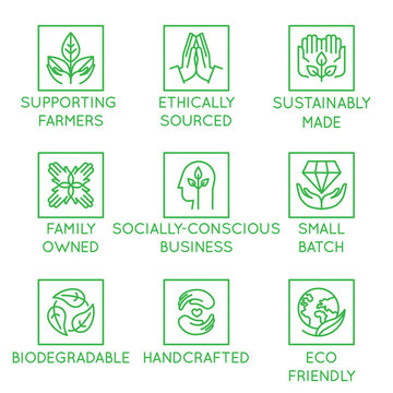 Vector set of design elements, logo design template, icons and badges for natural and organic cosmetics and sustainably made products