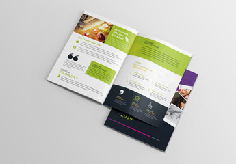 Pink, Purple, and Green Brochure Layout