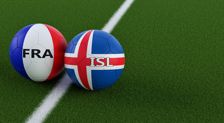 Iceland vs. France Soccer Match - Soccer balls in France and Icelands national colors on a soccer field. Copy space on the right side - 3D Rendering
