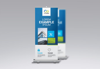 Blue and Green Real Estate Business Banner Rollup Layout
