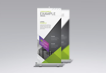 Business Banner Layout with Gray, Green, and Purple Accents