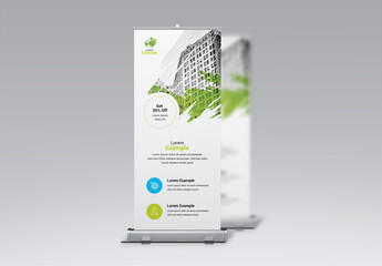 Business Banner Layout with Green and Blue Accents